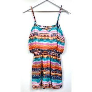 Liberty Love Colorful Aztec Design Pockets Romper